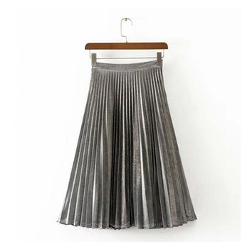 Stylish Metallic color Line Midi Long Pleated Skirt  Woman High Waist Gradient A line Skater Swing Skirts 3 colors 65cm