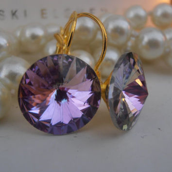 BIG Swarovski Earrings, Light Vitrail, 14mm, Crystal, 1122 Rivoli, Leverback, Dangle, Drop Earrings, Wedding, Golden Glue on Setting