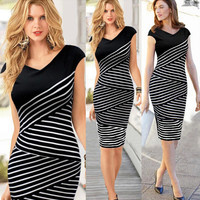 Black Stripe Cap-Sleeve Dress
