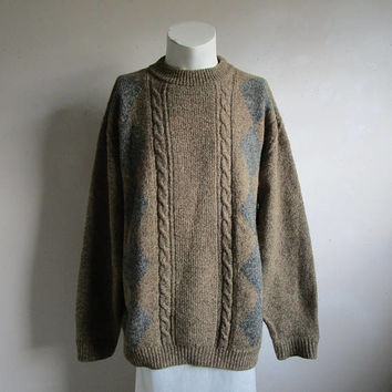 Vintage 1980s WOOLRICH Jumper Herb Brown Grey Wool Blend Crewneck 80s Mens Pullover Sweater XL