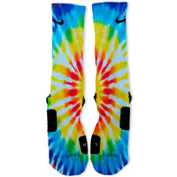 Tie Dye Blues Custom Nike Elite Socks