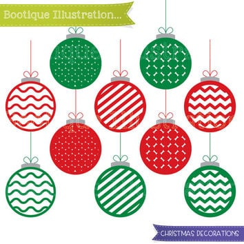 Christmas Decorations Clipart Set. Christmas Baubles Clip Art. Christmas Decorations Clip Art. Traditional Christmas Clipart. Xmas Clipart.
