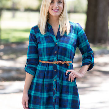 Right Place, Right Time  Plaid Dress (Navy/Turquoise)