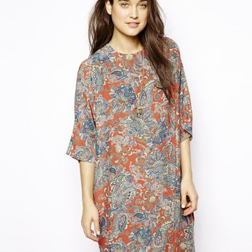 ASOS Shift Dress In Large Paisley Print