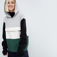 ASOS WHITE Color Block Sweat Top With Ruched Sleeves at asos.com