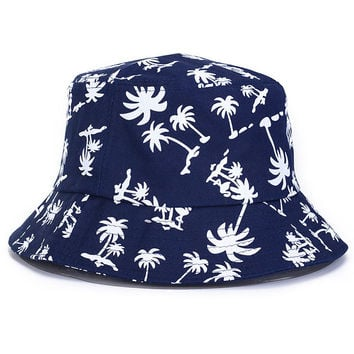 Palm Trees Adult Unisex Blue Casual Summer Beach Flat Bucket Hat