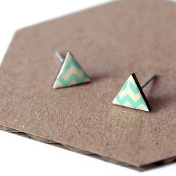 Triangle stud earrings - white, aqua blue - minimalist, modern geometric jewelry with glossy resin / chevron motif
