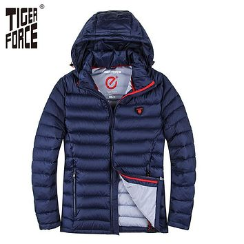 TIGER FORCE 2017 Men Winter Jacket Polyester Coat Bio-based Cotton Jacket Fashion Causal Jacket Autumn Hooded Coat Free Shipping