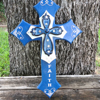 Decorative Crosses,Stacked Crosses,Wooden Cross,Rustic Cross,Wooden Cross Decor,Wall Cross,Decorative Cross,Cross Wall Art,Blue,Faith,Cross