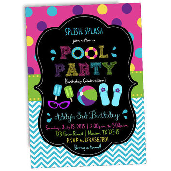 shop pool party invitations on wanelo