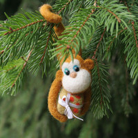 Monkey with gift box -  Christmas tree decoration, Zodiac sign of 2016, needle felted light brown monkey