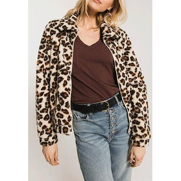 Z Supply - The Natural Leopard Sherpa Crop Jacket