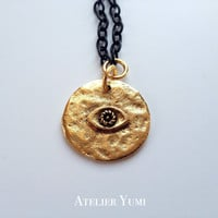 Evil Eye Necklace, Black and Gold Evil Eye Disc Pendant Necklace by Atelier Yumi