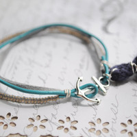 Summer bracelet No.52-- Anchor clasp bracelet, teal and gray with navy tassel-- Silver anchor