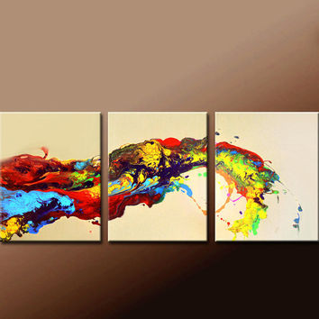 """3pc Abstract Canvas Art Painting 60"""" Original Contemporary Triptych Paintings by Destiny Womack - dWo - Waves of Euphoria"""