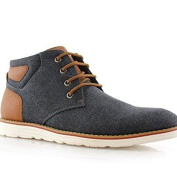New Men's 617134 Denim Ankle High Lace Up Casual Dress Chukka Boots