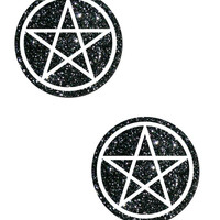 PENTAGRAM: WHITE ON BLACK GLITTER NIPPLE PASTIES