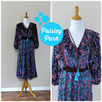 Vintage 80s Diane Freis Floral Paisley Boho Bohemian Peasant Gypsy Dress//Georgette Sheer Dress// Designer Dress//Boho Gypsy Festival Dress