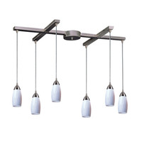 Elk Lighting 110-6WH 6 Light Pendant in Satin Nickel & Simply White Glass