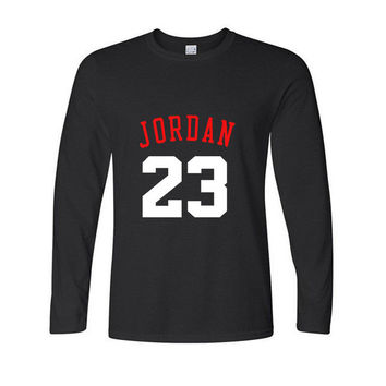 23 jordan t shirt for men 2016 Fashion Printed 100% Cotton long sleeve tshirts jordan men's clothing Casual round neck Tops tees
