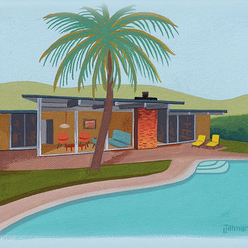 Mid Century Modern Eames Retro Limited Edition Print from Original Painting Architecture Pool