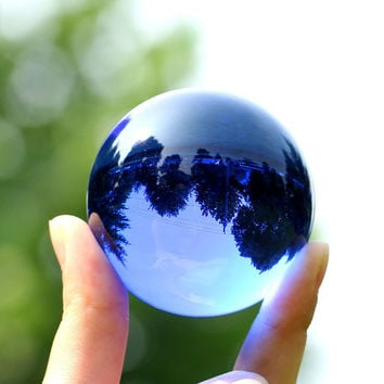 Rare Quartz Crystal Glass Blue Obsidian Stone Ball Natural Natal Feng Shui Crystals Sphere Magic Healing Balls 4CM + Stand