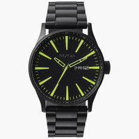 Nixon Sentry Ss Watch All Black/Lum One Size For Men 25978910001