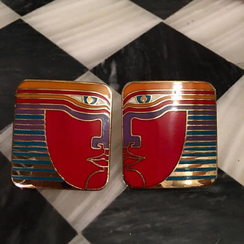 Amazing Laurel Burch Signed Red Rainbow Face Square Clip on Goldtone & Enamel Earrings Awesome 80S