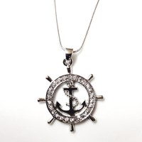 DianaL Boutique Silver Tone Nautical Ship Wheel and Anchor Charm Pendant and Necklace Gift Boxed Fashion Jewelry