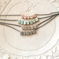 Small Name Necklace on Tiny Tiles, Cameron, Sofie, Ethan, Ayla, Henry, Raylee, your name necklace
