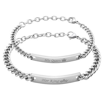 Cool Stainless steel ID Lover's bracelet Her King His Queen & Her Beast His Beauty Bangle Jewelry Provide DIY Engrave ServiceAT_93_12