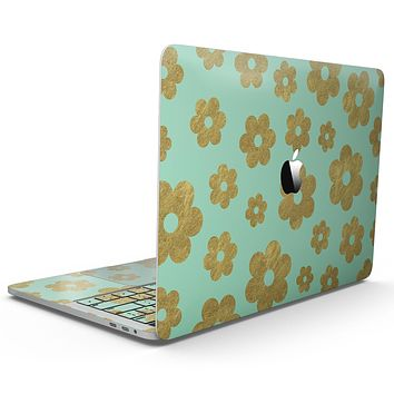 Mint and Gold Floral v8 - MacBook Pro with Touch Bar Skin Kit