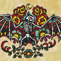 Day of the Dead Bat By Illustrated Ink -  Modern Tattoo Cross Stitch Kit