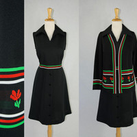 Vintage Mod Knit Dress and Sweater Set Novelty Red Green Stripe and Flowers 70s XL