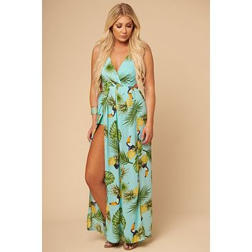 Party Like A Pineapple Bodysuit Dress (Turquoise)