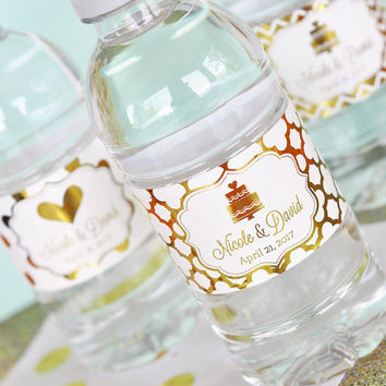 Personalized Metallic Foil Water Bottle Labels - Wedding - Wedding, Gold or Silver Metallic Foil Labels