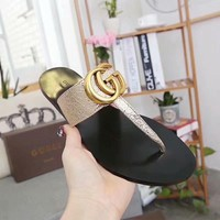 Gold GUCCI Flip Flop Fashion Slippers