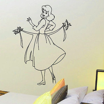 WALL DECAL VINYL STICKER CARTOON CINDERELLA ROOM NURSERY DECOR SB285