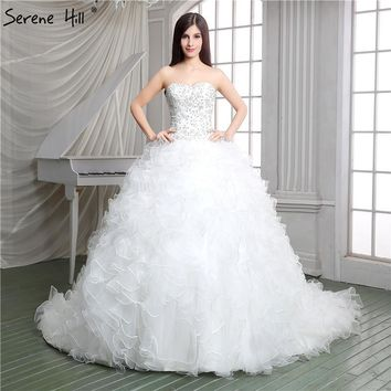 2018 White Fashion Sexy Sleeveless Tulle Wedding Dresses Embroidery Sequined Princess Bridal Gowns Robe De Mariage