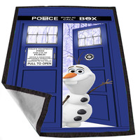 olaf disney frozen open door tardis dr for Kids Blanket, Fleece Blanket Cute and Awesome Blanket for your bedding, Blanket fleece *02*