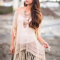 Brunch Fringe Knitted Sweater Tunic Top (Taupe)