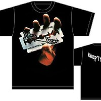 Judas Priest Album Cover Artwork T-shirt - British Steel with Keep the Faith Song Lyric. Men's Black Shirt
