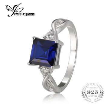 JewelryPalace Anniversary 2.3ct Created Sapphire 3 Stone Ring Genuine 925 Sterling Silver Fine Jewelry Birthday Gift for Women