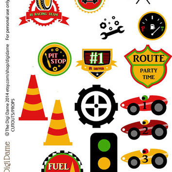 Party Printable Military Car Racing Speedway Red, Yellow & Green Cutouts/Party Props