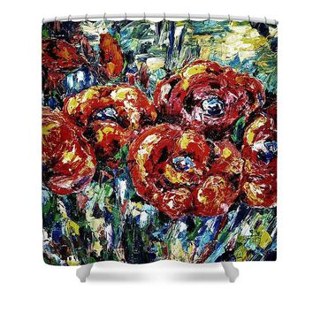 Poppy Red Flowers - Shower Curtain