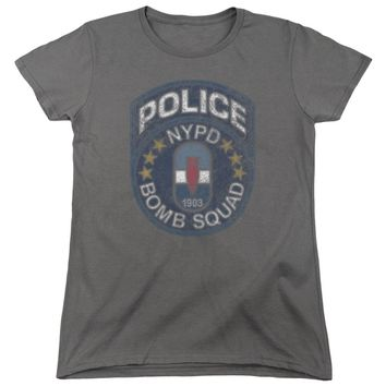 NYPD Womens T-Shirt Police Bomb Squad Charcoal Tee