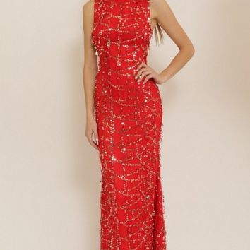 Sequin Long Red Detailed Side Cutout Evening Dress