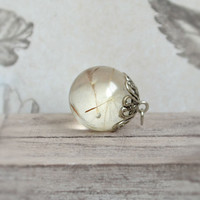 Romantic pendant necklace with a real dandelion seeds Eco chic style! Eco-friendly botanical jewelry - dandelion -p0072