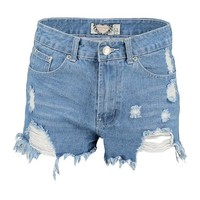 Hetty High Rise Distressed Denim Mom Shorts | Boohoo