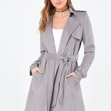 FAUX SUEDE WRAP TRENCH COAT